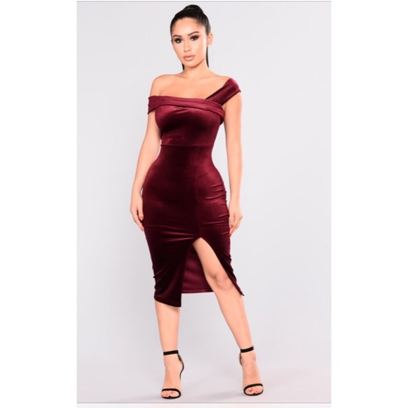 Burgundy Velvet One Shoulder Midi Dress Nwt